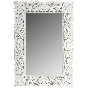 Photo NMI1620V : Miroir rectangulaire en manguier patiné blanc