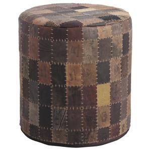 Photo NPO1180 : Pouf étiquettes en cuir