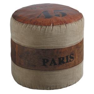 Photo NPO1210C : Pouf rond en coton et cuir