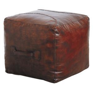 Photo NPO1290C : Pouf carré en cuir marron