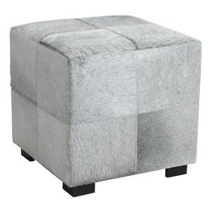 Photo NPO1300C : Pouf carré en peau de vache gris