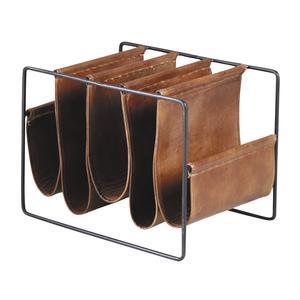 Photo NRV1160C : Porte-revues 5 compartiments en métal et cuir