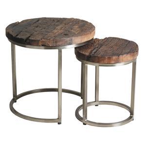 Photo NSE162S : Tables gigognes en acier et bois massif