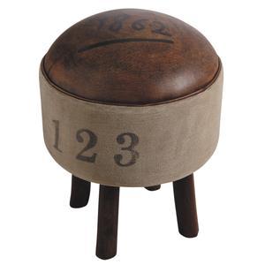 Photo NTB1560C : Tabouret en coton et cuir