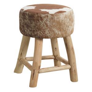 Photo NTB1590C : Tabouret en bois et peau de vache