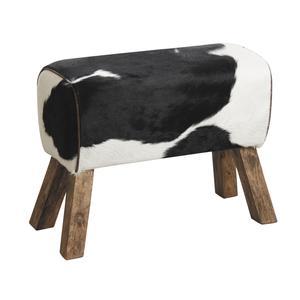 Photo NTB1620C : Tabouret en peau de vache et bois