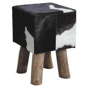 Photo NTB1630C : Tabouret carré en peau de vache