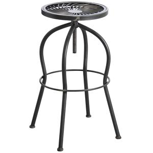 Photo NTB1741 : Tabouret haut pivotant en métal gris antique