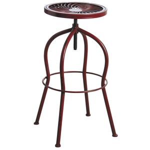 Photo NTB1742 : Tabouret haut pivotant en métal rouge antique