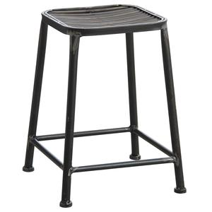 Photo NTB1751 : Antic grey metal square stool