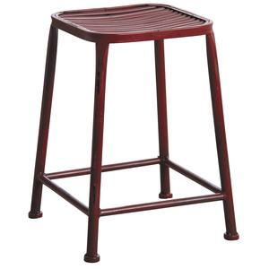 Photo NTB1752 : Antic red metal square stool