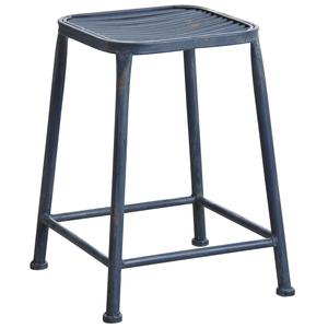Photo NTB1753 : Antic blue metal square stool