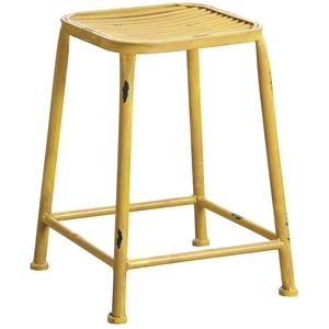 Photo NTB1754 : Antic yellow metal square stool