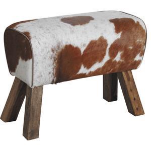 Photo NTB1780C : Tabouret en bois et peau de vache