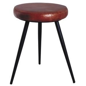 Photo NTB1810C : 3 legs leather and metal stool