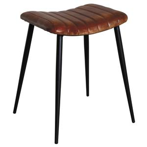 Photo NTB1820C : Rectangular leather and metal stool