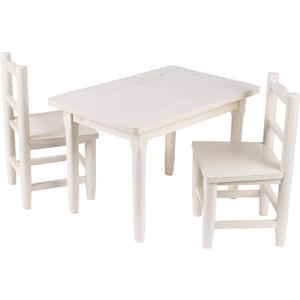Photo NTE107S : Table enfant et chaises en pin blanchi