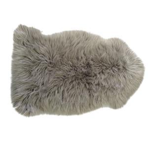 Photo NTX1140C : Jeté de canapé en fausse fourrure couleur pierre