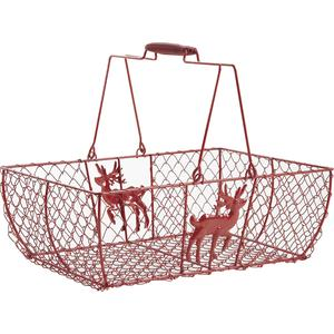 Photo PAM3150 : Red lacquered wire basket with movable handles