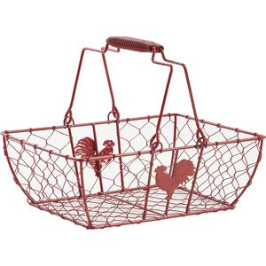 Photo PAM3160 : Red lacquered wire basket with movable handles