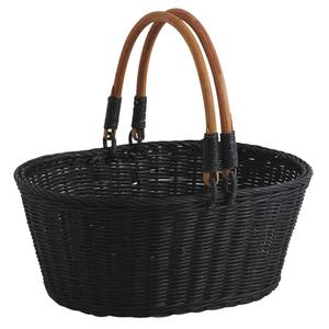 Photo PAM3340 : Blanck stained rattan basket with handles