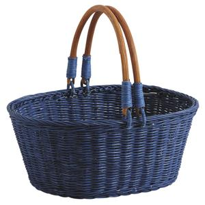 Photo PAM3350 : Blue stained rattan basket with handles