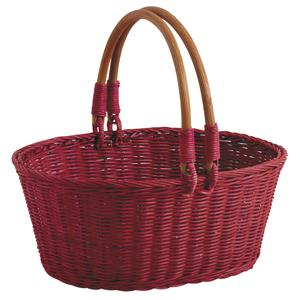 Photo PAM3360 : Red stained rattan basket with handles