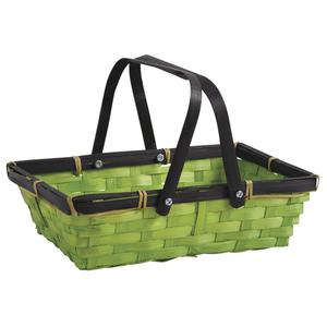 Photo PAM3380 : Rectangular stained green bamboo basket with handles