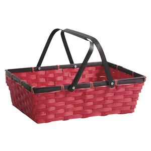 Photo PAM3390 : Rectangular stained red bamboo basket with handles