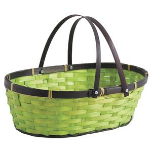 Photo PAM4400 : Oval green bamboo basket with handles