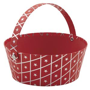 Photo PAM4440 : Round red cardboard basket with handle