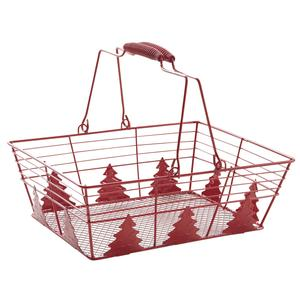 Photo PAM4470 : Red lacquered metal basket with pine trees design