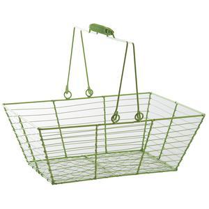 Photo PAM4540 : Green lacquered metal rectangular basket