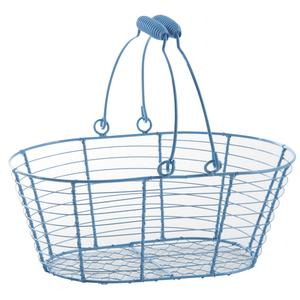 Photo PAM4550 : Blue lacquered metal oval basket