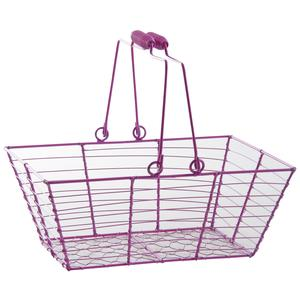 Photo PAM4560 : Rectangular pink lacquered wire basket