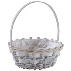 Photo PAM4640P : Round willow and wood basket with handle