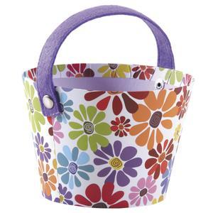 Photo PAM4670 : Round cardboard basket with flower design and purple felt handle