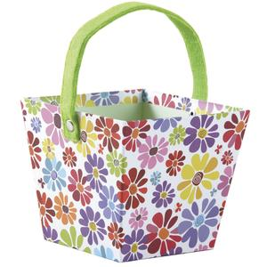 Photo PAM4680 : Square cardboard basket with flower design and green felt handle