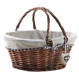 Photo PAM4690J : Dark brown half willow basket with a heart
