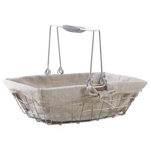 Photo PAM4710J : Rectangular silver color metal basket with 2 movable handles