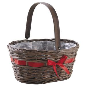 Photo PAM4720P : Oval stained willow basket with a red satin ribbon