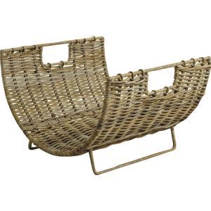 Photo PBU1850 : Grey pulut rattan log holder with metal frame