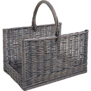 Photo PBU2210 : Panier à bûches en osier gris