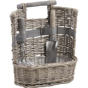 Photo PJA1110 : Grey willow gardening basket with 2 tools