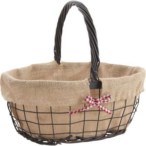 Photo PMA4870J : Rusty metal and willow basket with movable handles