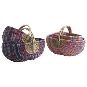 Photo PMA500S : Multicolored rattan and seagrass baskets with handle