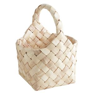 Photo PMA5080 : Round natural wood basket with handle
