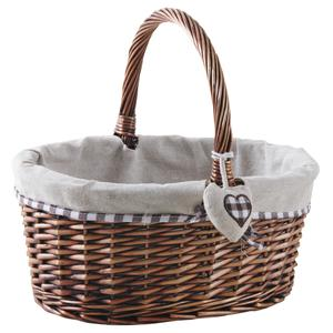 Photo PMA5090J : Oval half willow and jute basket