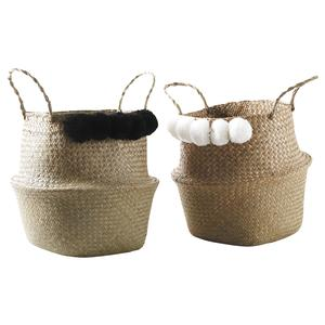 Photo SFA2820 : Round natural rush bag with pompoms
