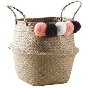 Photo SFA2830 : Natural rush bag with pompoms